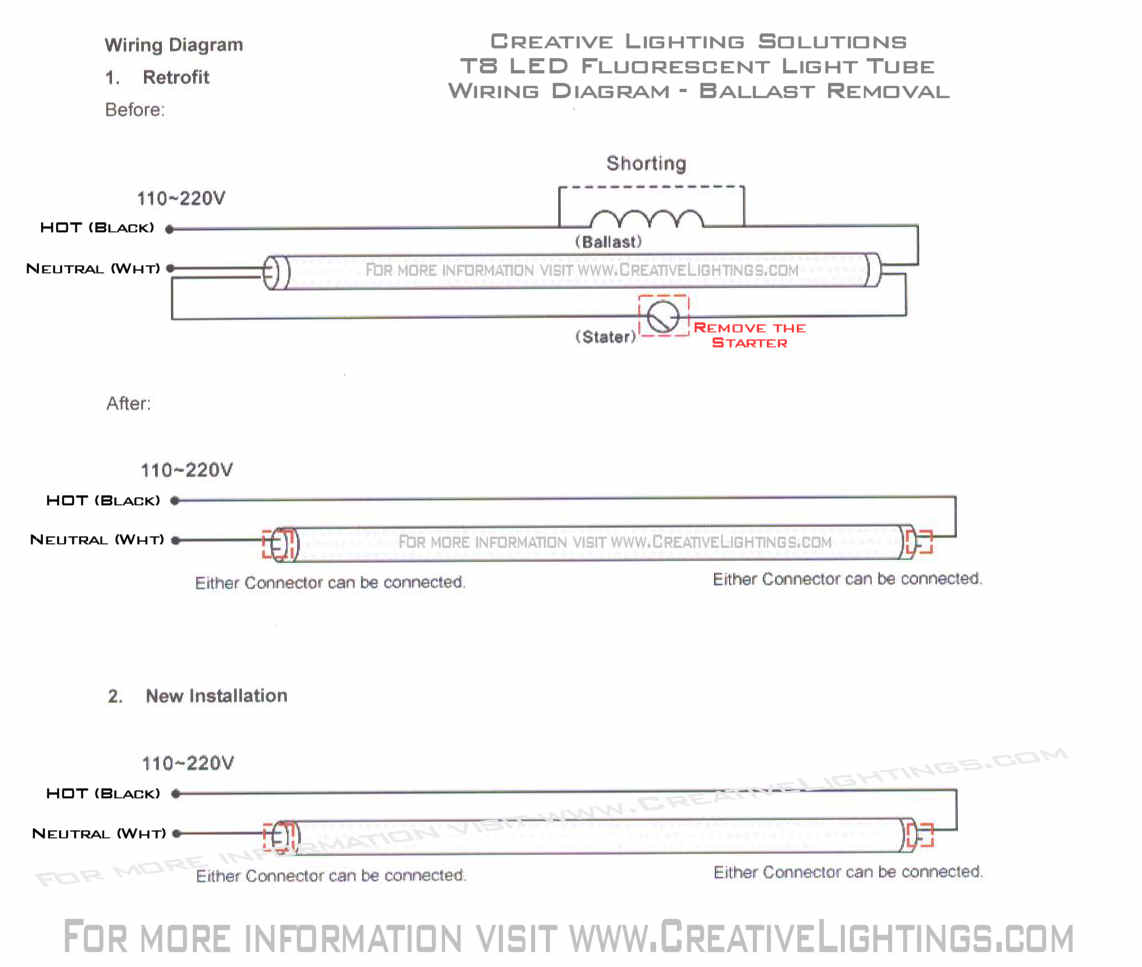 PLEASE REFERRENCE THE T8 LED WIRING DIAGRAM FOR BALLAST REMOVAL AND WIRING  OF THE T8 LED FLUORESCENT TUBE!